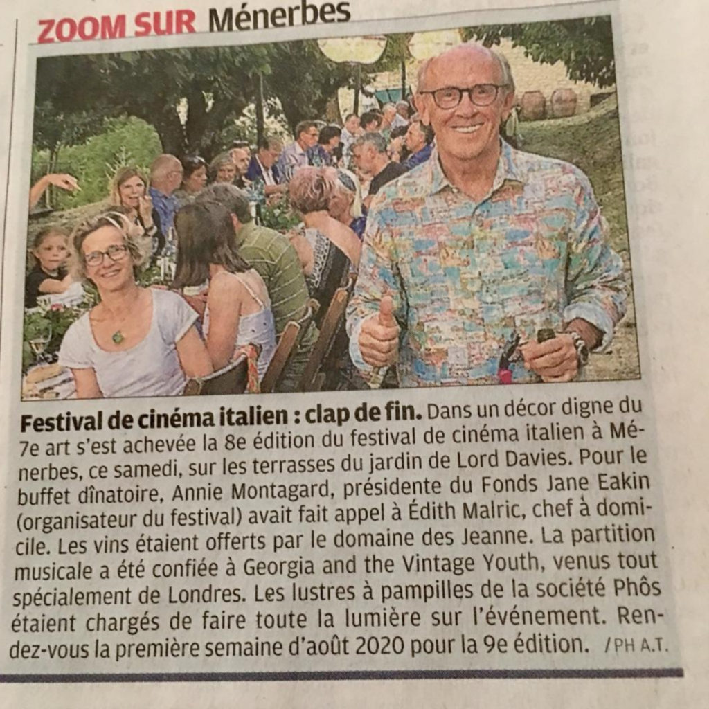Newspaper Article about the Italian Cinema Festival in our garden